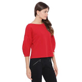 Red Boat Neck Top