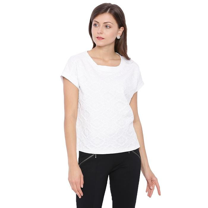 Round Neck White Top