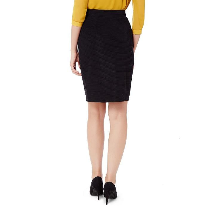 Solid Black Ribbed Skirt