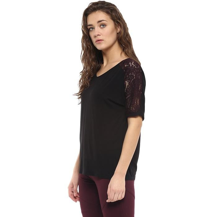 Solid Black Top With Lace Sleeve