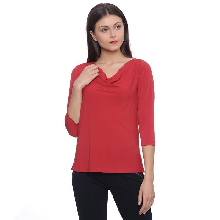 Solid Red Cowl Neck Top