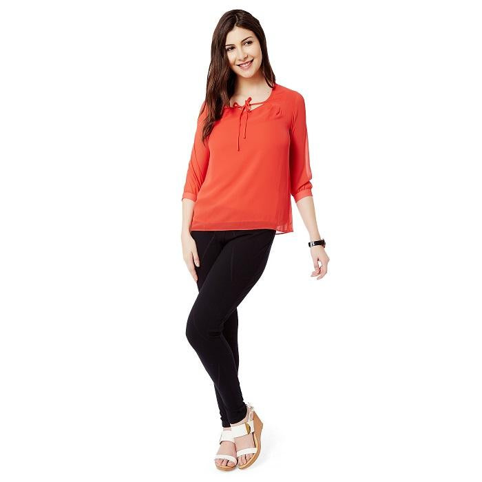 Solid Red georgette Top