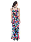 Strappy Tropical Print Maxi Dress
