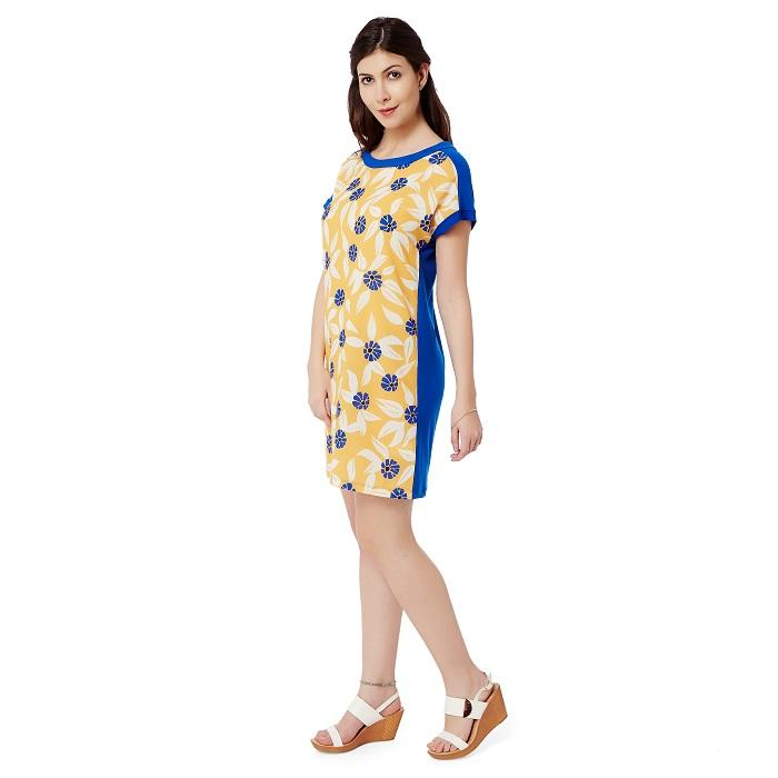 Yellow Blue Cap Sleeve Tunic