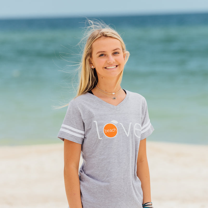 Orange Beach womens' vintage football tee in grey