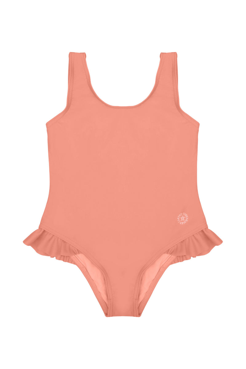 Dewi swimsuit Ruffle-detail - Coral