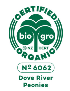 Dove River Peonies is bio gro certified organic
