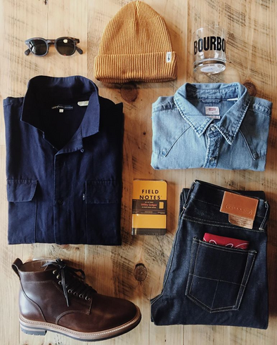Just in!  Lev's Made & Crafted Indigo Shirt Jacket and Barstow Light Wash Western Shirt