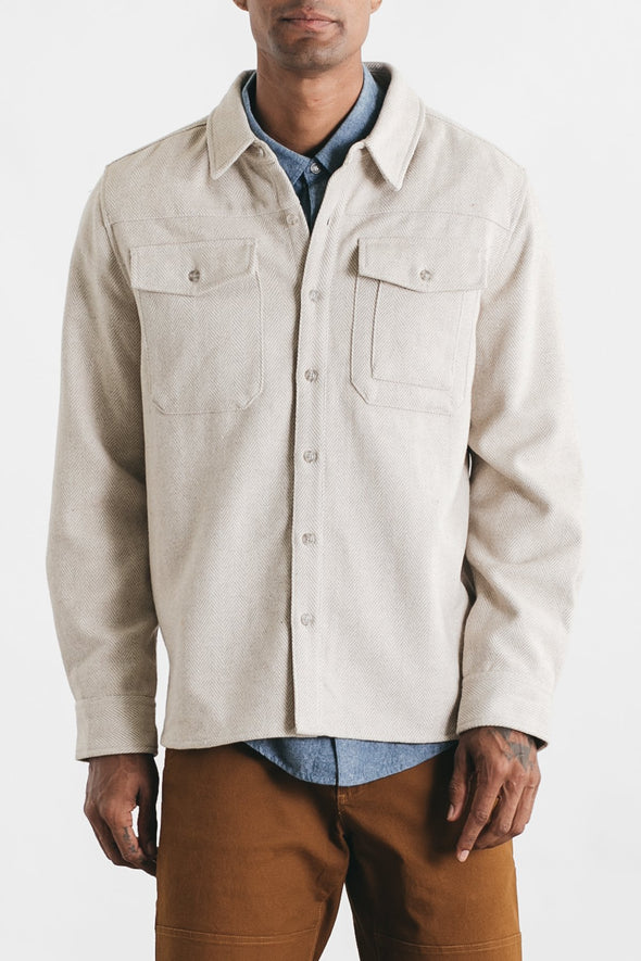 Bridge & Burn Fielding Jacket in Cream Herringbone