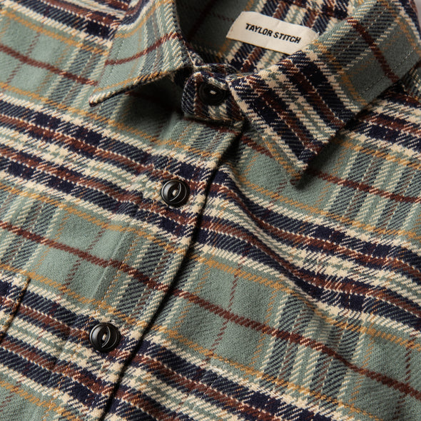 Taylor Stitch Crater Flannel Shirt in Blue Plaid