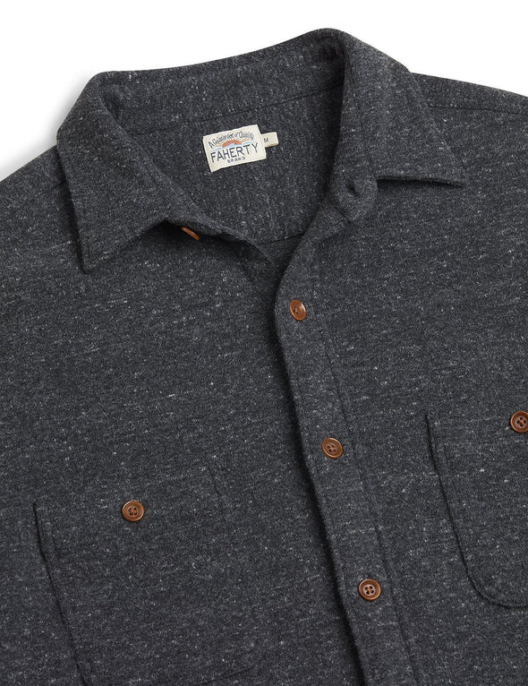 Faherty Knit Alpine Shirt in Charcoal Heather
