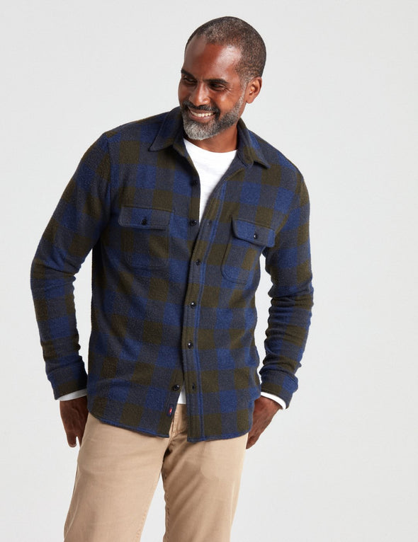 Legend Sweater Shirt in Navy Olive Buffalo