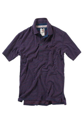 Finespun Striped Polo Dark Navy/Red - JOURNEYMAN CO.