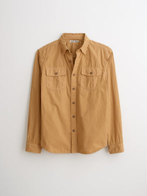 Field Shirt Garment Dyed Paper Cotton Light Khaki - JOURNEYMAN CO.