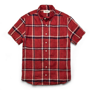 Linen Crimson Plaid SS Shirt - JOURNEYMAN CO.
