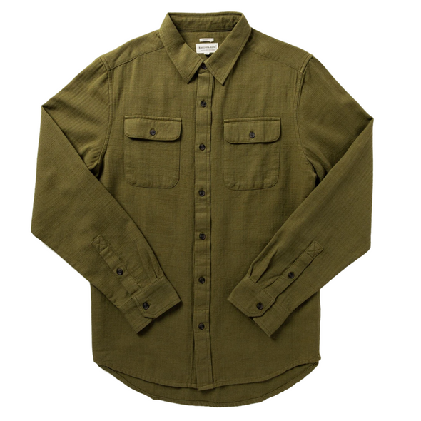 Bedford Herringbone Shirt in Fir Green