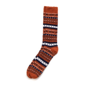 Fair Isle Merino and Cashmere Blend Socks in Rust
