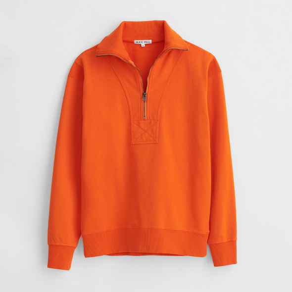 Alex Mill 1/2 Zip Sweatshirt in Orange