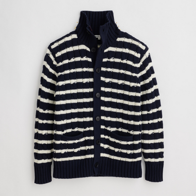 Alex Mill Jack Cable Cardigan in Navy/Ivory Stripe