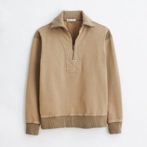 Alex Mill 1/2 Zip Sweatshirt in Vintage Khaki
