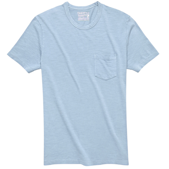 Faherty Sunwashed Pocket Tee in Dusk Blue