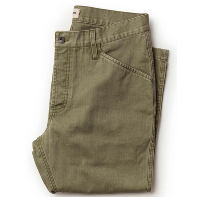 Taylor Stitch Camp Pant in Olive Herringbone