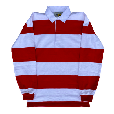 Journeyman Co. Rugby Shirt in Red/White Stripe