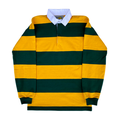 Journeyman Co. Rugby Shirt in Green/Gold Stripe