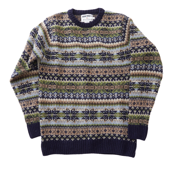 Journeyman Co. x Harley of Scotland Fair Isle Sweater in Navy