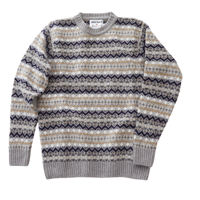 Journeyman Co. x Harley of Scotland Fair Isle Sweater in Chrome