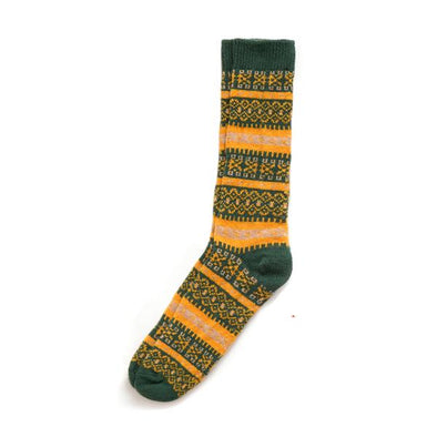 Fair Isle Merino and Cashmere Blend Socks in Green