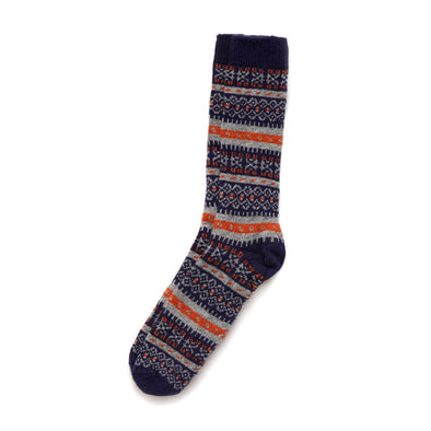 Fair Isle Merino and Cashmere Blend Socks in Navy