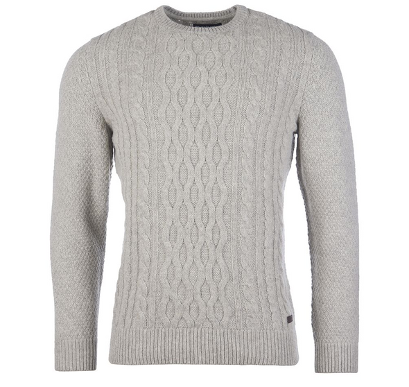 Barbour Chunky Cable Crew Sweater in Fog