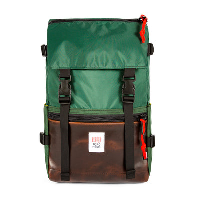 Topo Designs Rover Pack in Forest/Dark Brown Leather