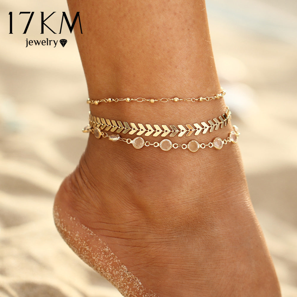 Beach Anklet Golden Set