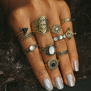 Silver/Gold Opal Vintage Look Rings 10 PCS/Set