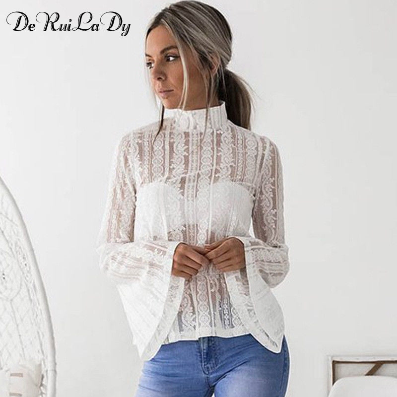 Lace Blouse-Flare Sleeve