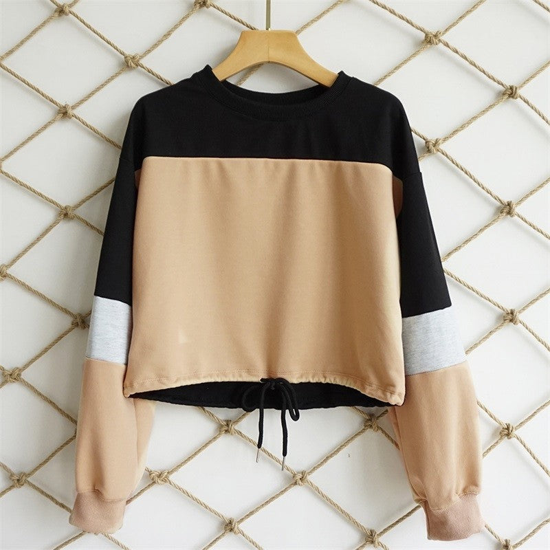 Long Sleeve Lace Up Sweatshirt Crop Top