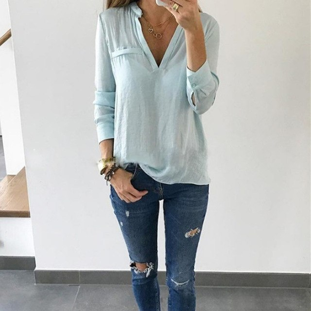 V Neck Long Sleeve Loose Blouses