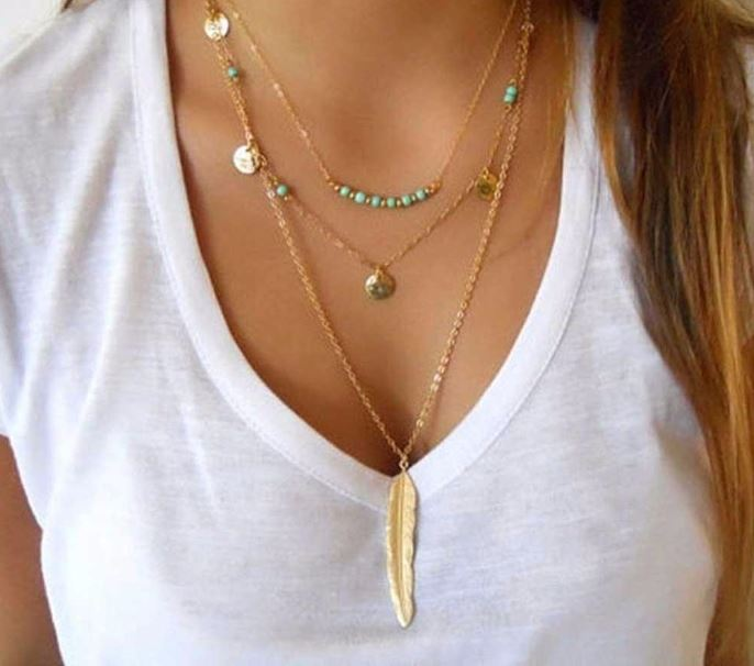 New Fashion Feather Multilayer Necklace
