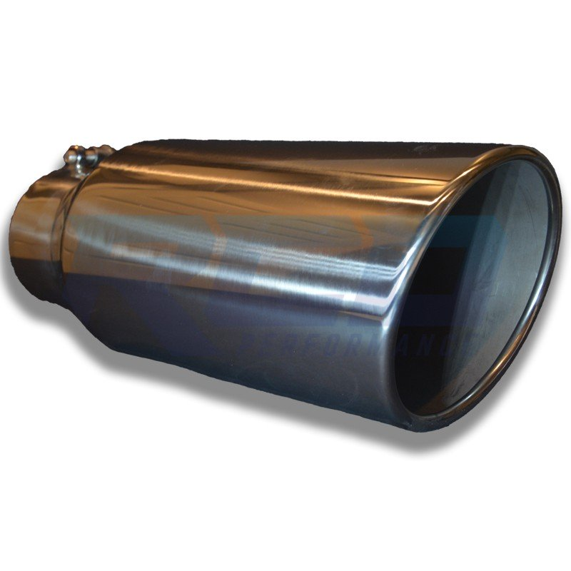 "RCD 304 Stainless Steel 15"" Long 4"" to 6"" Rolled Slanted Exhaust Tip"
