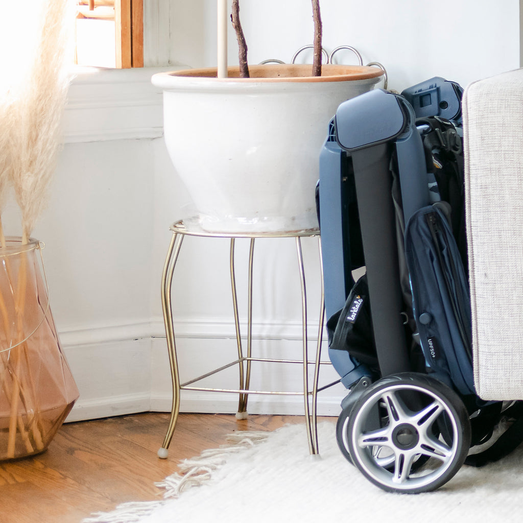 chit chat plus stroller folded and stored in a small space