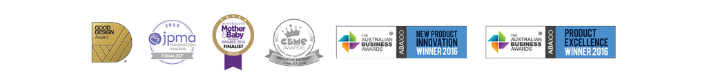 Award winning strollers. JPMA Innovation award, Good Design Award, Mother & Baby Award, CBME Award