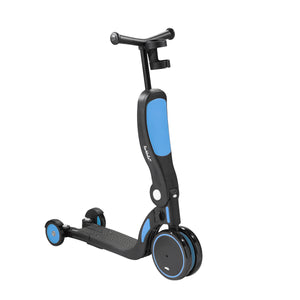 Scoobi scooter, tricycle, balance bike and ride on all-in-one toy for kids - blue and black