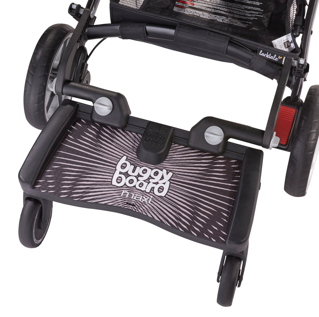 Lascal buggyboard is compatible with larktale strollers, available in black
