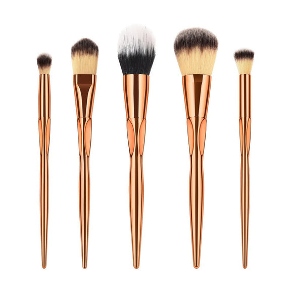 5pc Soft Nylon Bristles Powder Blush Brush Kit - The Beauty Brush