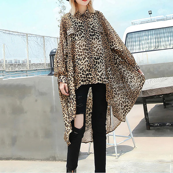 Messina Irregular Sheer Leopard Print Blouse