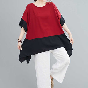 Chicago Oversized Assymetrical Blouse in Red