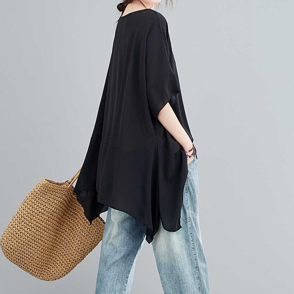 Chicago Oversized Assymetrical Blouse in Black