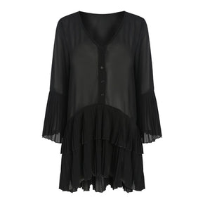 Rouen Bell Sleeve Dress in Black